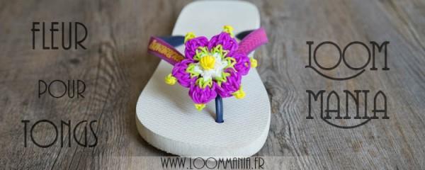 Fleur en élastiques pour tongs - Rainbow Loom